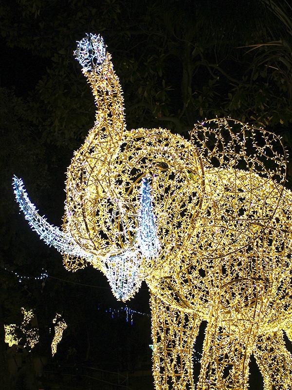 Elefante luminoso nella Villa comunale di Salerno, in occasione dell'evento Luci d'Artista