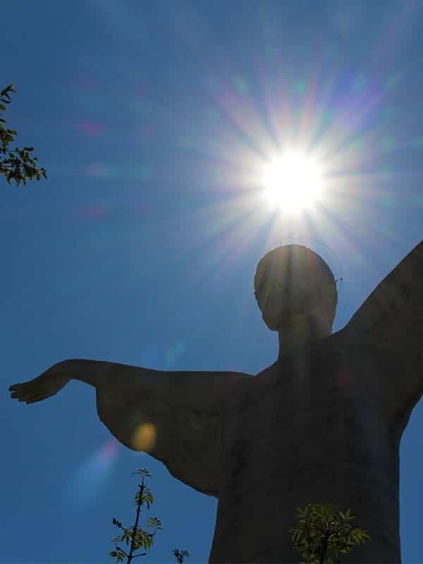 Particolare della Statua del Cristo Redentore a Maratea, in Basilicata.